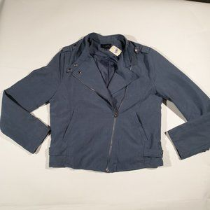 NWT Be Cool Light Blue Faux Suede Moto Jacket